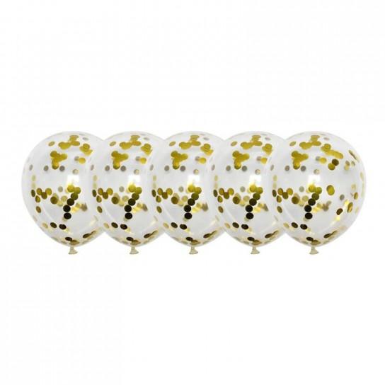 Set 5 baloane cu Confetti, auriu cu negru, 30 cm Conceptool