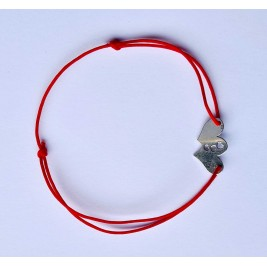 Bratara Double Hearts - argint 925 snur rosu