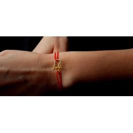 Bratara ingeras - SWEET ANGEL - argint 925 aurit, aur 14K snur rosu