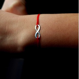 Bratara INFINITY - argint 925 snur rosu