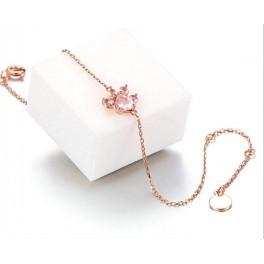 Bratara reglabila labuta caine/pisica cu cristale roz