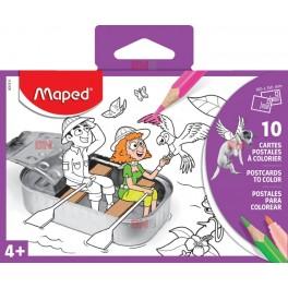 Set 10 carti postale de colorat Maped