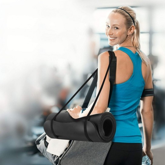 Saltea anti-alunecare Yoga, Fitness, Pilates Profesionala, neagra + Husa neagra Depozitare si Transport