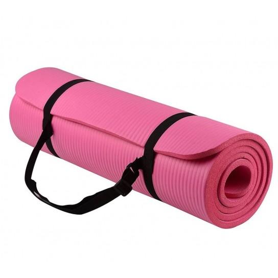Saltea anti-alunecare Yoga, Fitness, Pilates Profesionala, Roz + Husa neagra Depozitare si Transport