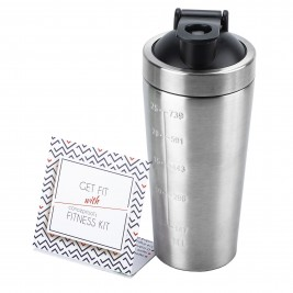 Shaker pentru proteine din inox gradat - 739 ml